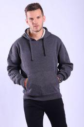 12 Bulk Mens Fleece Lined Pullover Hoody In Charcoal