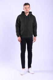 12 Bulk Mens Sherpa Lined Full Zip Hoody Sweater In Black