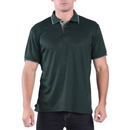 24 Bulk Mens Waffit Polo Tee Shirt In Olive