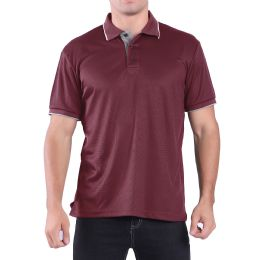 24 Bulk Mens Waffit Polo Tee Shirt In Red Plus Size