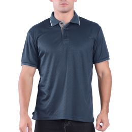 24 Bulk Mens Waffit Polo Tee Shirt In Navy Plus Size