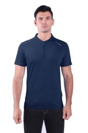 72 Bulk Mens Solid Crew Short SLeeve Tee With Zipper Chest Opening In Navy