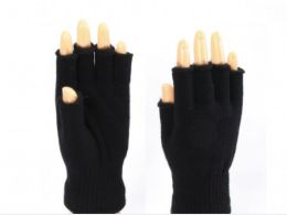 72 Bulk Black Finger Less Gloves