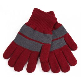 72 Bulk Fur Lined Striped Gloves