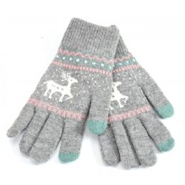 48 Bulk Ladies Touch Screen Glove Reindeer Print