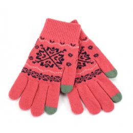 36 Bulk Ladies Touch Screen Glove Snowflake Print