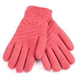 36 Bulk Ladies Fur Lined Knitted Glove