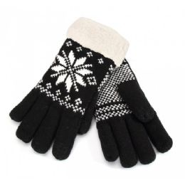 12 Bulk Touch Screen Ladies Gloves Snow Print Fur Lined