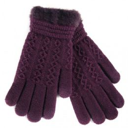 36 Bulk Women's Fur Lined Knitted Ladies Gloves