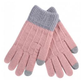 36 Bulk Women's Striped Kitted Gloves