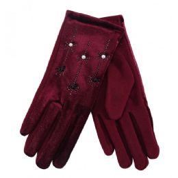 36 Bulk Ladies Gloves With Pearls And Flower