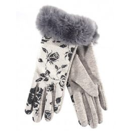 36 Bulk Ladies Winter Glove Flower Print With Fur Cuff