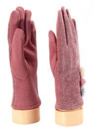 36 Bulk Ladies Glove With Fuzzy Button