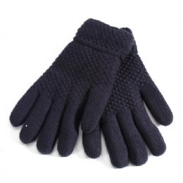 36 Bulk Mens Black Fur Lined Glove