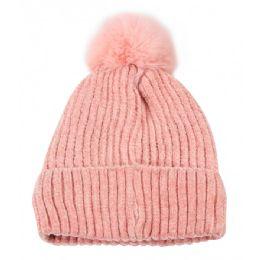 36 Bulk Kid's Hat With Fur Love Printed