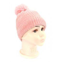 36 Bulk Kid's Hat With Fur Pom Pom