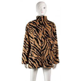 24 Bulk Fleece Poncho Tiger Print