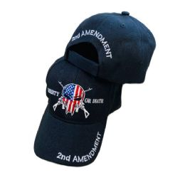 36 Bulk Liberty Or Death Hat American Flag Skull