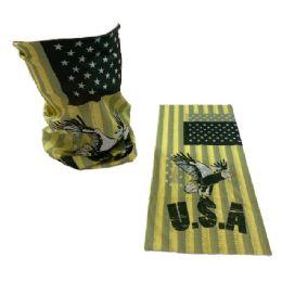 30 Bulk Multi Functional Headgear Gaiter Buff USA Eagle Yellow