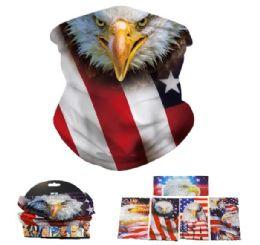 24 Bulk Multi Functional Headgear Gaiter Buff Flag With Eagle