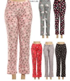 36 Bulk Girls Warm Printed Pajama Pants In Assorted Color