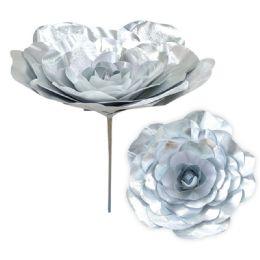 12 Bulk Xmas Shiny Rose Silver