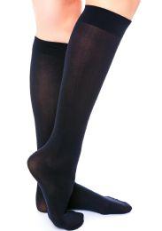 36 Bulk Yacht & Smith Girls Knee High Socks, Size 6-8 Solid Navy