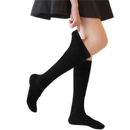 36 Bulk Yacht & Smith Girls Knee High Socks, Size 6-8 Solid Black