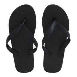 96 Bulk Men's Black Color Flip Flops