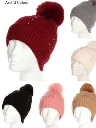 36 Bulk Women Winter Pom Pom Hat With Studs Design