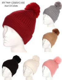 36 Bulk Women's Winter Pom Pom Hat Solid Colors Assorted