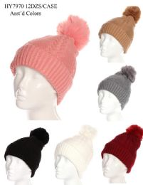 36 Bulk Women's Winter Pom Pom Hat Textured Design