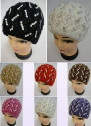 12 Bulk Ladies Knitted Hat ZigZag Rhinestones