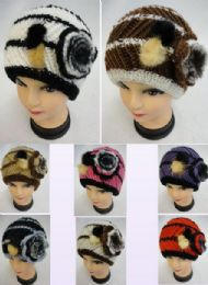 12 Bulk Ladies Knitted Hat Fur & Flower