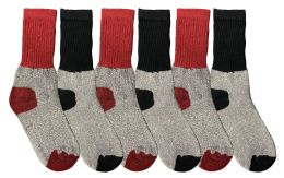 6 Bulk Yacht & Smith Kids Thermal Winter Socks, Cotton, Boys Girls Winter Crew Socks