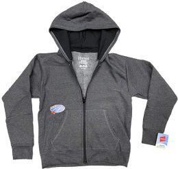 24 Bulk BILLIONHATS Wholesale 24 Pack Kids Hoodie Sweatshirts Bulk, Zipper, EcoSmart Yarn, Hoodie Pocket, Charcoal Gray (Small)