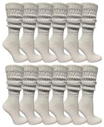 12 Bulk Yacht & Smith Womens Cotton Extra Heavy Slouch Socks, Boot Sock Solid White