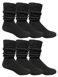 6 Bulk Yacht & Smith Mens Cotton Extra Heavy Slouch Socks, Boot Sock Solid Black