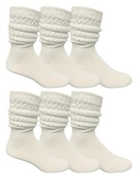 6 Bulk Yacht & Smith Mens Cotton Extra Heavy Slouch Socks, Boot Sock Solid White