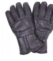 24 Bulk Men's Black Leather Winter Glove
