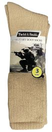 36 Bulk Yacht & Smith Men's Army Socks, Military Grade Socks Size 10-13 Solid Khaki