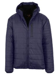 12 Bulk Mens Sherpa-Lined Hooded Puffer Jacket, Assorted Sizes S-XXL Navy