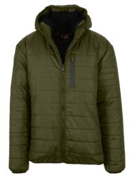 12 Bulk Mens Sherpa-Lined Hooded Puffer Jacket, Assorted Sizes S-XXL Olive