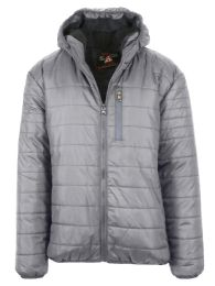 12 Bulk Mens Sherpa-Lined Hooded Puffer Jacket, Assorted Sizes S-XXL Heather
