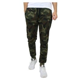 24 Bulk Men's SliM-Fit French Terry Joggers Solid Camo Assorted Sizes S-Xxl