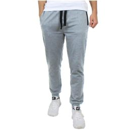 24 Bulk Men's Slim-Fit French Terry Joggers Solid Heather Assorted Sizes S-XXL