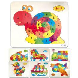 96 Bulk Wooden Snail Puzzle Abc