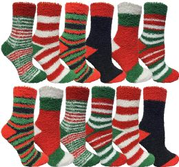 12 Bulk Yacht & Smith Women Fuzzy Socks Crew Socks, Warm Butter Soft (9-11) (12 Pack Assorted A)