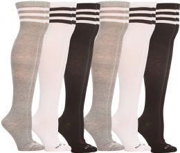 6 Bulk Yacht & Smith Womens Over the Knee Socks, Assorted Premium Soft, Cotton Colorful Patterned (6 Pairs Striped (Black, White, Gray))