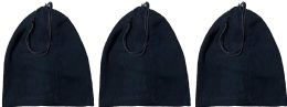 3 Bulk Yacht & Smith Warm Fleece Beanie Face Cover And Scarf With Adjustable Strap , Solid Black